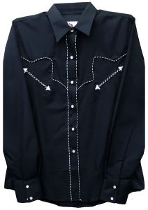 Modestone Women's Long Sleeved Fitted Western Shirt Dotted Piping Black