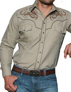 Modestone Men's Embroidered Long Sleeved Shirt Filigree Horseshoe Beige