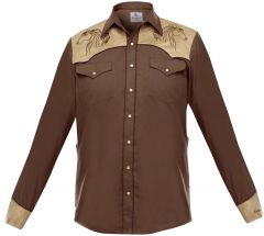 "Modestone Men's Embroidered Fitted Western Shirt Horse ""Super Suede"" Brown"