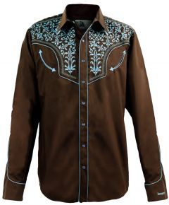 Modestone Men's Long Sleeved Fitted Western Shirt Filigree Embroidered Brown