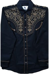 Modestone Men's Embroidered Long Sleeved Fitted Western Shirt Filigree Black