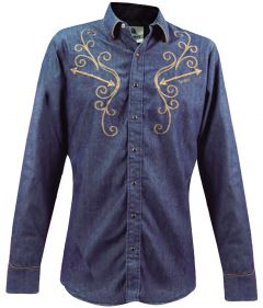 Modestone Men's Long Sleeved Fitted Western Shirt Filigree Embroidered Denim