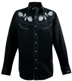 Modestone Men's Long Sleeved Fitted Western Shirt Filigree Embroidered Black