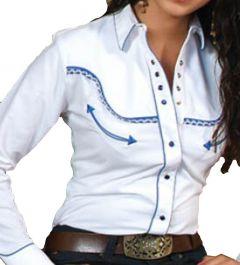 Modestone Women's Embroidered Long Sleeved Shirt Filigree Blue L
