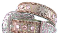 Modestone Women's Leather Star Bling Belt 42 Pink