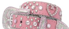 Modestone Women's Leather Heart Bling Belt 38 Pink