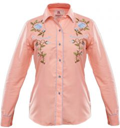 Modestone Women's Embroidered Long Sleeved Fitted Western Shirt Rose Pink
