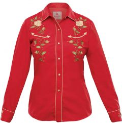 Modestone Women's Embroidered Long Sleeved Fitted Western Shirt Rose Red