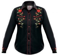 Modestone Women's Embroidered Long Sleeved Fitted Western Shirt Rose Black