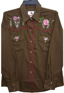 Modestone Women's Embroidered Long Sleeved Fitted Western Shirt Bull Brown