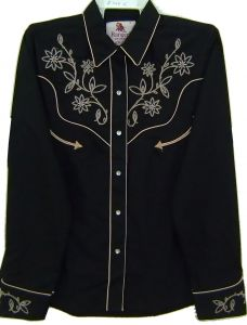 Modestone Women's Floral Embroidered Long Sleeved Fitted Western Shirt Black