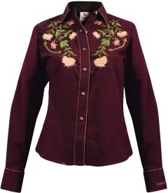 Modestone Women's Embroidered Long Sleeved Fitted Western Shirt Burgundy