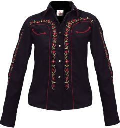 Modestone Women's Embroidered Long Sleeved Fitted Western Shirt Floral Black