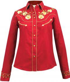 Modestone Women's Embroidered Long Sleeved Fitted Western Shirt Floral Red