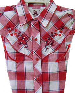 Modestone Girl's Embroidered short sleeve Shirt Floral Red