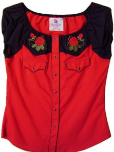 Modestone Women's Embroidered Short Sleeve Shirt Roses M Red