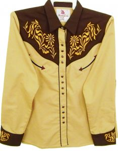 Modestone Women's Embroidered Long Sleeve Shirt Floral Filigree L Beige
