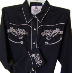 Modestone Women's Embroidered Long Sleeve Shirt Floral Filigree S Black