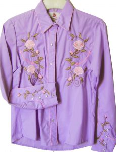 Modestone Women's Embroidered Long Sleeve Shirt Floral Filigree S Purple