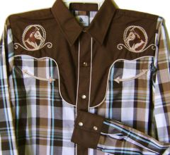 Modestone Boy's Embroidered Long Sleeve Shirt Horse Head Rope 14 Brown