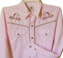 Modestone Girl's Embroidered Long Sleeve Shirt Horse Head Filigree 14 Pink