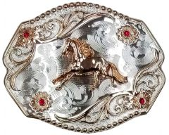 Modestone Nickel Silver Belt Buckle Red Stones Galloping Horse 4'' x 3 1/2''