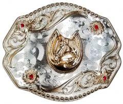 Modestone Nickel Silver Belt Buckle Red Stones Horse Horseshoe 4'' x 3 1/2''