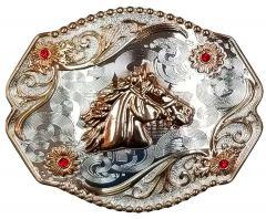 Modestone Nickel Silver Belt Buckle 4x Red Stones Horse Head 4'' x 3 1/2''