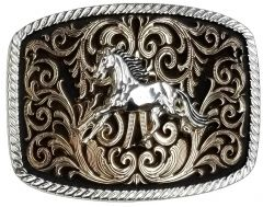 Modestone Nickel Silver Trophy Belt Buckle Galloping Horse 4 1/4'' x 3 1/2''
