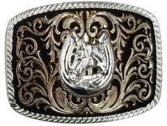 Modestone Nickel Silver Trophy Belt Buckle Horse Horseshoe 4 1/4'' x 3 1/2''