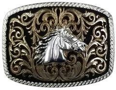 Modestone Nickel Silver Trophy Belt Buckle Horse Head 4 1/4'' x 3 1/2''