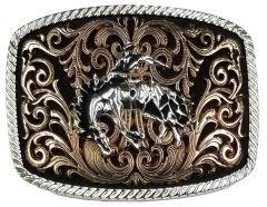 Modestone Nickel Silver Belt Buckle Bronco Busting Cowboy 4 1/4'' x 3 1/2''
