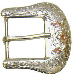 Modestone Men's Western Style Belt Buckle Floral Pattern O/S Silver