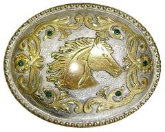 Modestone Men's Jade Stones Horse Head Trophy Belt Buckle Filigree O/S Silver