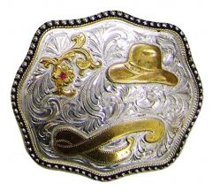 Modestone Men's Cowboy Hat Ruby-Like Stone Belt Buckle Filigree O/S Silver