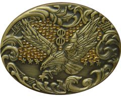 Modestone Men's Eagle Western Style Belt Buckle Amber-Like Stones O/S Silver