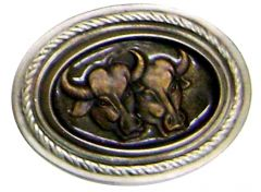 Modestone Men's Double Bulls Western Style Belt Buckle O/S Bronze Color