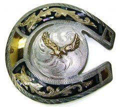 Modestone Men's Belt Buckle Horseshoe Golden Eagle Mother Of Pearl O/S Silver