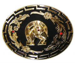 Modestone Men's Horseshoe Horse With 2X Ruby-Like Stones Belt Buckle O/S Gold