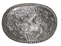 Modestone Men's Shiny Filligree Western Style Belt Buckle O/S Silver