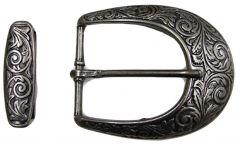 Modestone Men's 2 Pcs Belt Buckle & Loop Western Style Belt Buckle O/S Silver