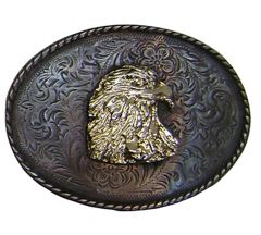 Modestone Men's Eagle Head Antiqued Filigree Belt Buckle O/S Silver
