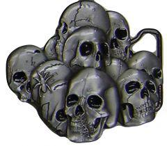 Modestone Men's Skulls Belt Buckle O/S Silver