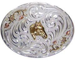 Modestone Men's Floral Horse Head Trophy Belt Buckle Nickel Silver O/S Gold