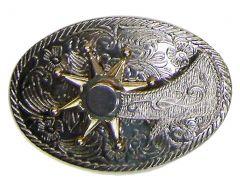 Modestone Men's Golden Spinning Spur On Filigree Belt Buckle O/S Gold