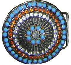 Modestone Men's Blue, Orange & Clear Stones Western Style Belt Buckle O/S Silver