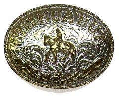 Modestone Men's Chihuahua Belt Buckle Man Riding Horse Nickel Silver O/S Silver