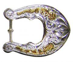 Modestone Men's Horseshoe Filigree Nickel Silver Belt Buckle O/S Silver