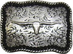 Modestone Men's Black Stone Border Bull Head Belt Buckle O/S Silver