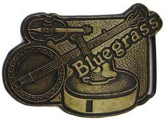 Modestone Men's Bluegrass Belt Buckle Guitar, Banjo & Fiddle O/S Silver
